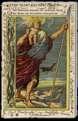 """Völkische Neujahrskarte mit der Darstellung Wotans und des """"Sonnenkindes"""", Anfang des 20. Jahrhunderts"""