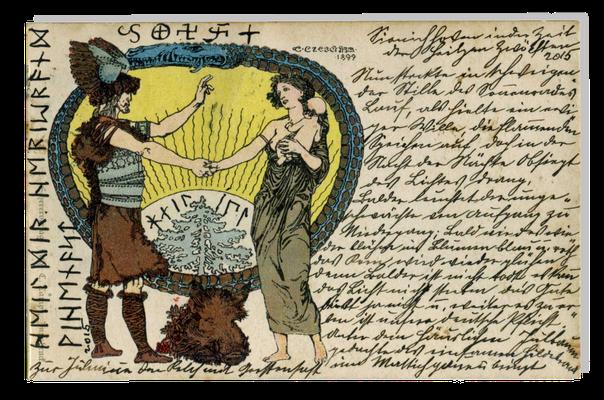 """Wintersonnenwendkarte mit der Darstellung des Helden, der aufgehenden Sonne und der Sonnenfrau, die das """"Sonnenkind"""" auf dem Arm hält, Ende des 19. Jahrhunderts"""