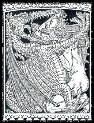 """Der innere Dämon als Drache, Buchillustration von Hugo Höppener """"Fidus"""" zu Gertrud Prellwitz Buch """"Die Legenden vom Drachentöter"""" (1912)"""
