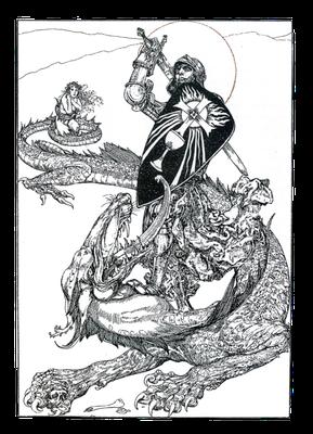 Parzival als Drachenkämpfer, Buchillustration (Anfang des 20. Jahrhunderts)