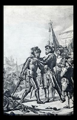Heinrich II. von Frankreich zeichnet den Marschall de Tavannes nach dem Sieg bei Renty, 1554, mit dem Orden des Heiligen Michaels aus, Vorlage für eine Tapisserie, Mitte des 17. Jahrhunderts