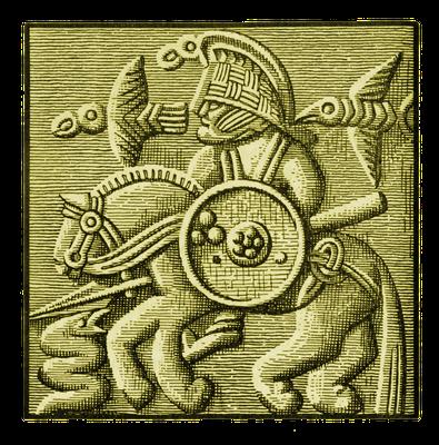 """Helmblech, gefunden bei Vendel (Schweden), 7. Jahrhundert, mit der Darstellung eines bewaffneten Reiters (Odin?) mit Schlange als Gegner oder """"Begleittier"""""""