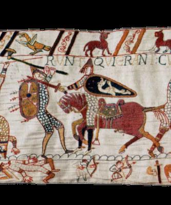 Detail aus dem Teppich von Bayeux mit der Darstellung eines (fränkischen?) Kriegers, auf dessen Schild ein Drache abgebildet ist, zweite Hälfte des 11. Jahrhunderts