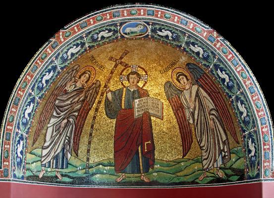 Christus Victor, Mosaik aus der früheren Kirche San Michele in Africisco, Ravenna, erste Hälfte 6. Jahrhundert, heutiger Zustand