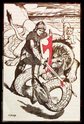 """Propagandazeichnung aus dem Ersten Weltkrieg mit St. Georg und den englischen Löwen im Kampf mit dem """"deutschen"""" Drachen, 1915"""