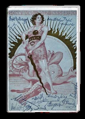 """Sonnenwendkarte mit der Darstellung des Helden, der aufgehenden Sonne und dem erschlagenen """"Winterdrachen"""", Anfang des 20. Jahrhunderts"""