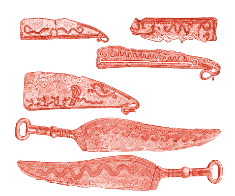 Metallklingen mit Gravuren, die Schlangen darstellen sollen, aus der nordischen Bronzezeit
