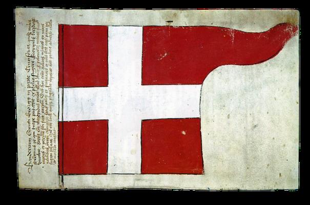 """St.-Georgs-Fahne in """"verwechselten"""" Farben aus der Schlacht bei Tannenberg, 1410"""