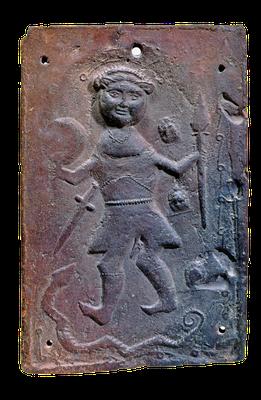 Metallene Plakette mit einer Darstellung Christi als Krieger, Frankreich, 6. Jahrhundert, heutiger Zustand