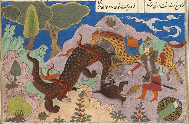 Feridun tötet den Drachen, persische Miniatur (15. Jahrhundert)