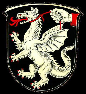 Drachenzähmen christlich II: Wappen von Strinz-Margarethä, Ortsteil von Hohenstein, Rheingau-Taunus-Kreis