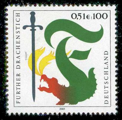 Sonderbriefmarke für den Fürther Drachenstich (2001)