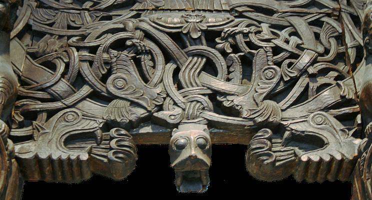Schnitzerei mit Drachenmotiv an der Stabkirche von Hyllestad (Norwegen), um 1200