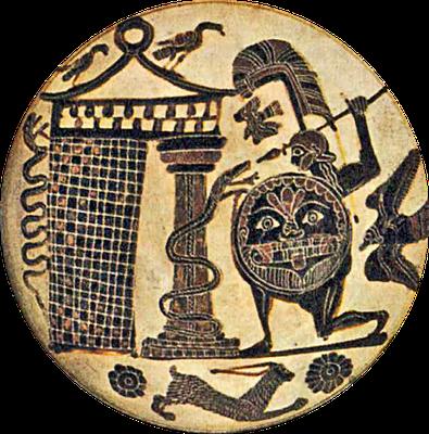 Perseus tötet Ketos, antikes Vasenbild (Erste Hälfte 1. Jahrtausend vor Christus)