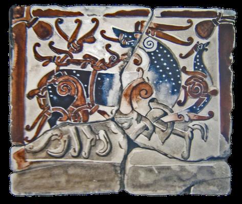 Rekonstruktion eines Runensteins mit einem löwenartigen Wesen im Kampf mit einem Drachen, gefunden auf dem Friedhof von St. Paul's, London, 11. Jahrhundert