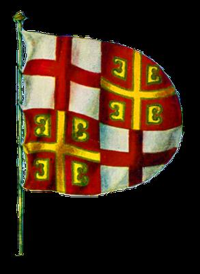 Fahne des Lateinischen Kaisertums von Byzanz, Anfang des 13. Jahrhunderts