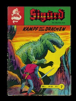 """Mann gegen Saurier – Umschlag einer Ausgabe der Comicserie """"Sigurd – Der ritterliche Held"""" (Anfang der 1970er Jahre)"""