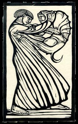 Der innere Dämon als Drache, Holzschnitt von Gustav Vigeland (1920er Jahre)