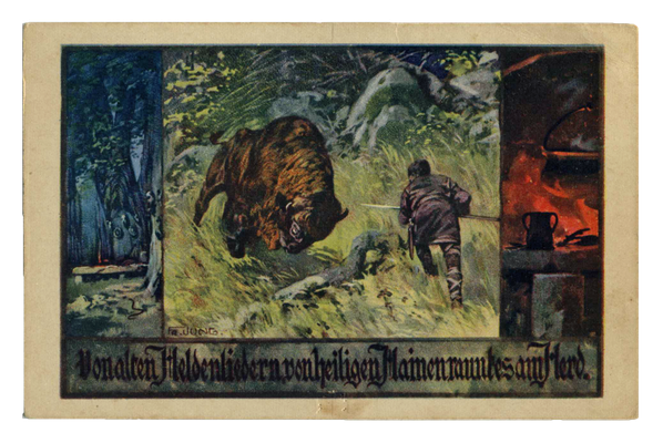 Germane im Kampf mit einem Wisent, Postkarte nach einer Vorlage von Franz Jung-Ilsenheim (1920er Jahre)
