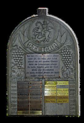 """Die Ehrentafel mit den Namen von """"Jungfrau"""" und """"Ritter"""" (Zustand 2010)"""