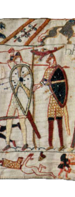 Detail aus dem Teppich von Bayeux mit der Darstellung des angelsächsischen Königs Harald, der von einem Standartenträger mit Drachenfahne begleitet wird, zweite Hälfte des 11. Jahrhunderts