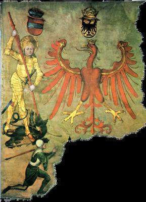 Tiroler Banner mit der Darstellung des Drachenkampfes (um 1480)