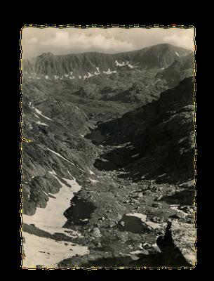 Blick auf die Vallée des merveilles, Postkarte aus den 1960er Jahren