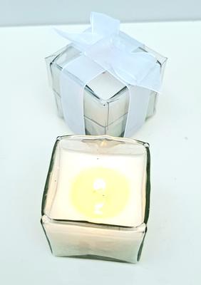 Vela cristal cuadrado de 5cm ancho x 5cm alto