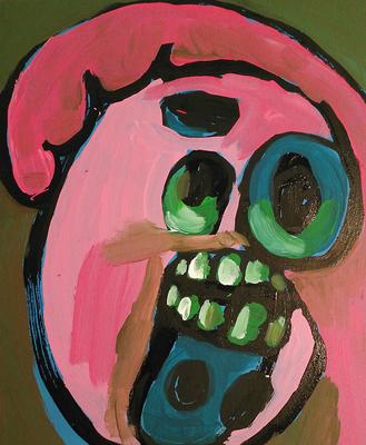 Blöd, wenn man vor sich selbst im Spiegel erschrickt, Acryl auf Leinwand, 30 x 40 cm, 2016
