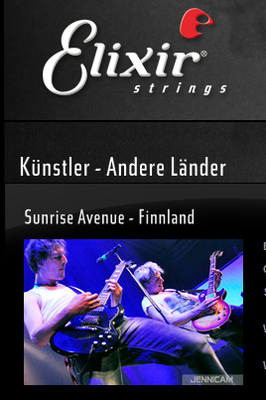 Sunrise Avenue. Website elixirstrings.de, 2012
