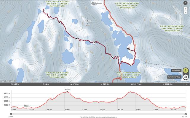 Ausflug ins Sixty Lake Basin vom Rae Lakes Camp aus