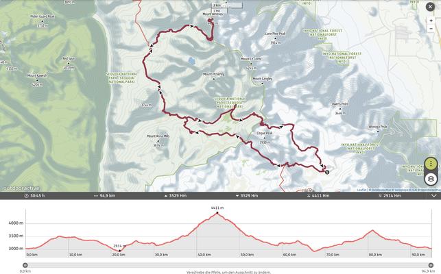 Mount Whitney vom Westen via Crabtree Meadow im Sequoia National Park