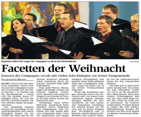 Facetten der Weihnacht - Weihnachtskonzert 2008 der compagnia vocale kassel