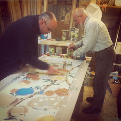 3rd and 4th generation of decorative painters in the Picherit family...