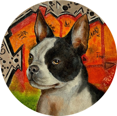 🔴 Frenchie, 2019, oil on board, 10 x 10 cm (4 x 4 in