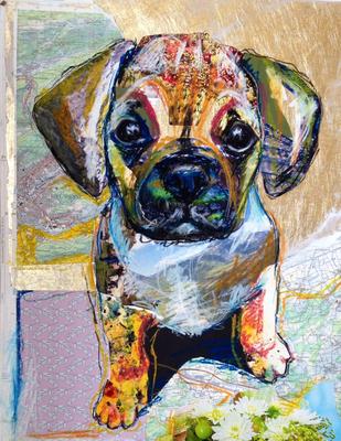 """""""Candy Dog II"""", 40 cm x 50 cm, Collage auf PVC, 2014   ___VERKAUFT"""