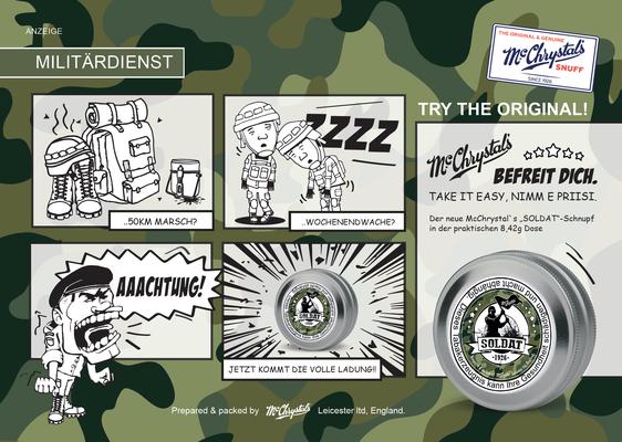 Kampagne Entwicklung & Umsetzung. McChrystal`s Schnupftabak, Soldat Limited Edition, 2019