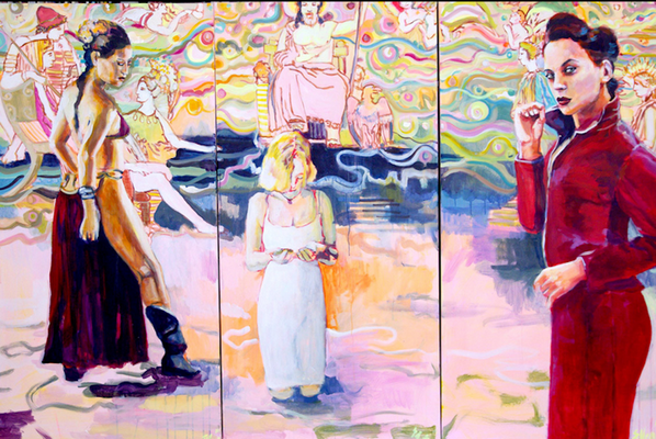 Stephanie Nückel     O.T. 3 x 150 x 75 cm  Acryl auf Leinwand   2014  für E.O.
