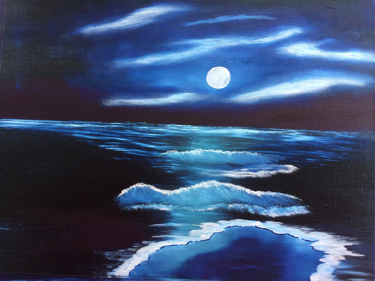 Moonlight over the Sea / Canvas Sheet 30x40cm