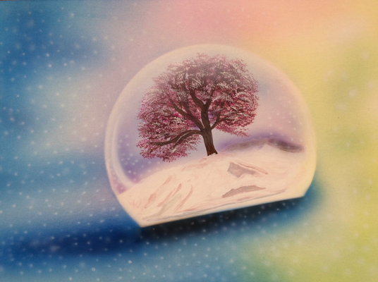 Protected Cherry Tree / Cardboard 25.3x36.3cm