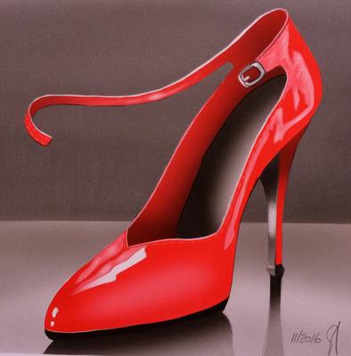 Red Heel / Airbrush Paper A4 / Sold / Verkauft