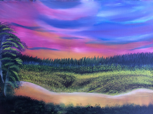 Sunset River / Canvas Sheet 30x40cm
