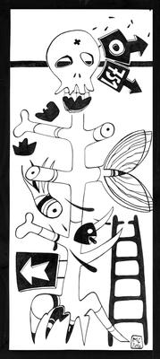 751 - Zeichnung auf Platte, 30x70 cm, 2016, M. Chartier - VERKAUFT
