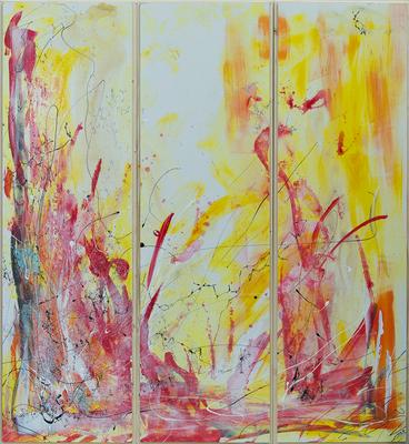 Tre II - Acryl auf Leinwand, 3x30x100 cm, 2016, U. Schachner