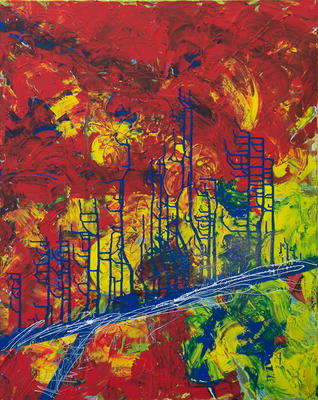 Feuer - Wasser - Acryl auf Leinwand, 80x100 cm, 2014, M. Weber