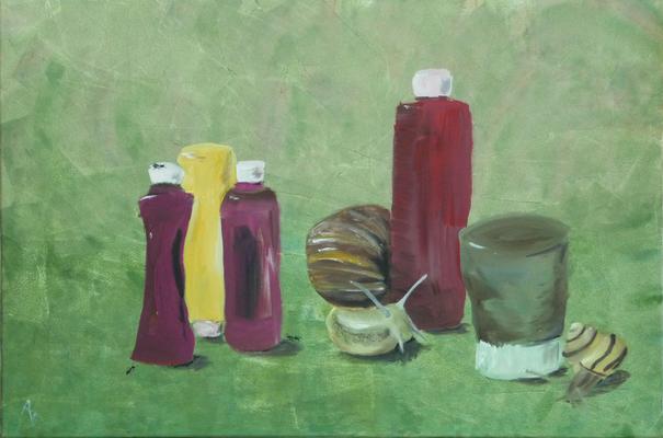 Schnick-Schneck - Acryl auf Leinwand,  90x60 cm, 2012, A. Bellaire