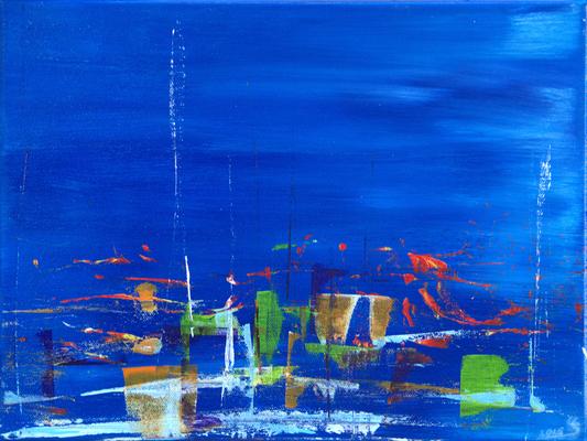 azzurro due - Acryl auf Leinwand, 40x30 cm, 2015, U. Schachner - VERKAUFT