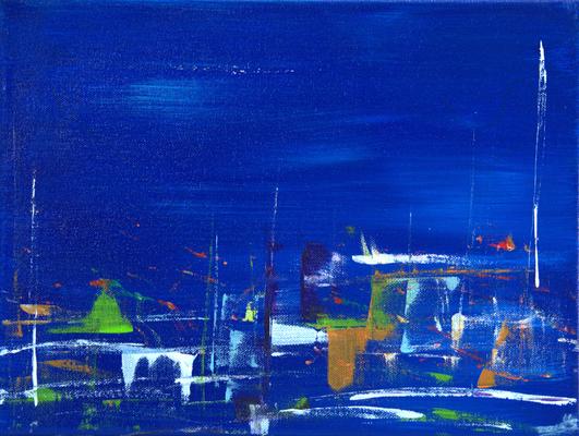 azzurro uno - Acryl auf Leinwand, 40x30 cm, 2015, U. Schachner