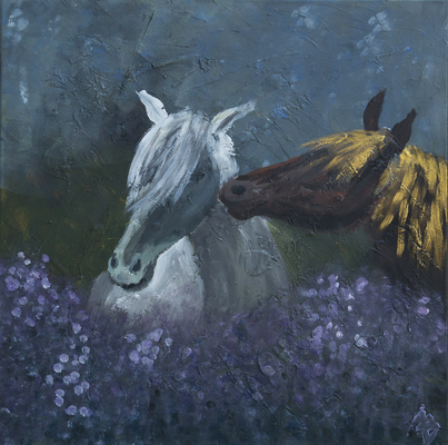 Nächtliches Rendezvous - Acryl auf Leinwand,  60x60 cm, 2014, A. Bellaire