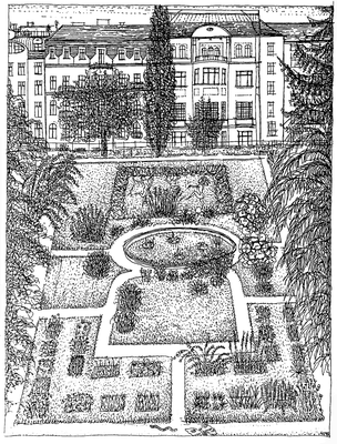 """Der Host-Garten und """"Elfen"""" - Zeichnung, 20x30 cm, 2012, A. Kästner"""